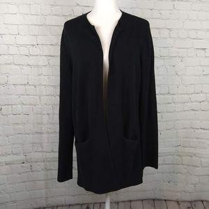 Eileen Fisher Black Silk Blend Sweater Cardigan M